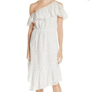 Joie Corynn Eyelet one shoulder dress size small